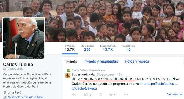Captura del mensaje homofóbico retuiteado por el fujimorista Carlos Tubino. Foto: Twitter