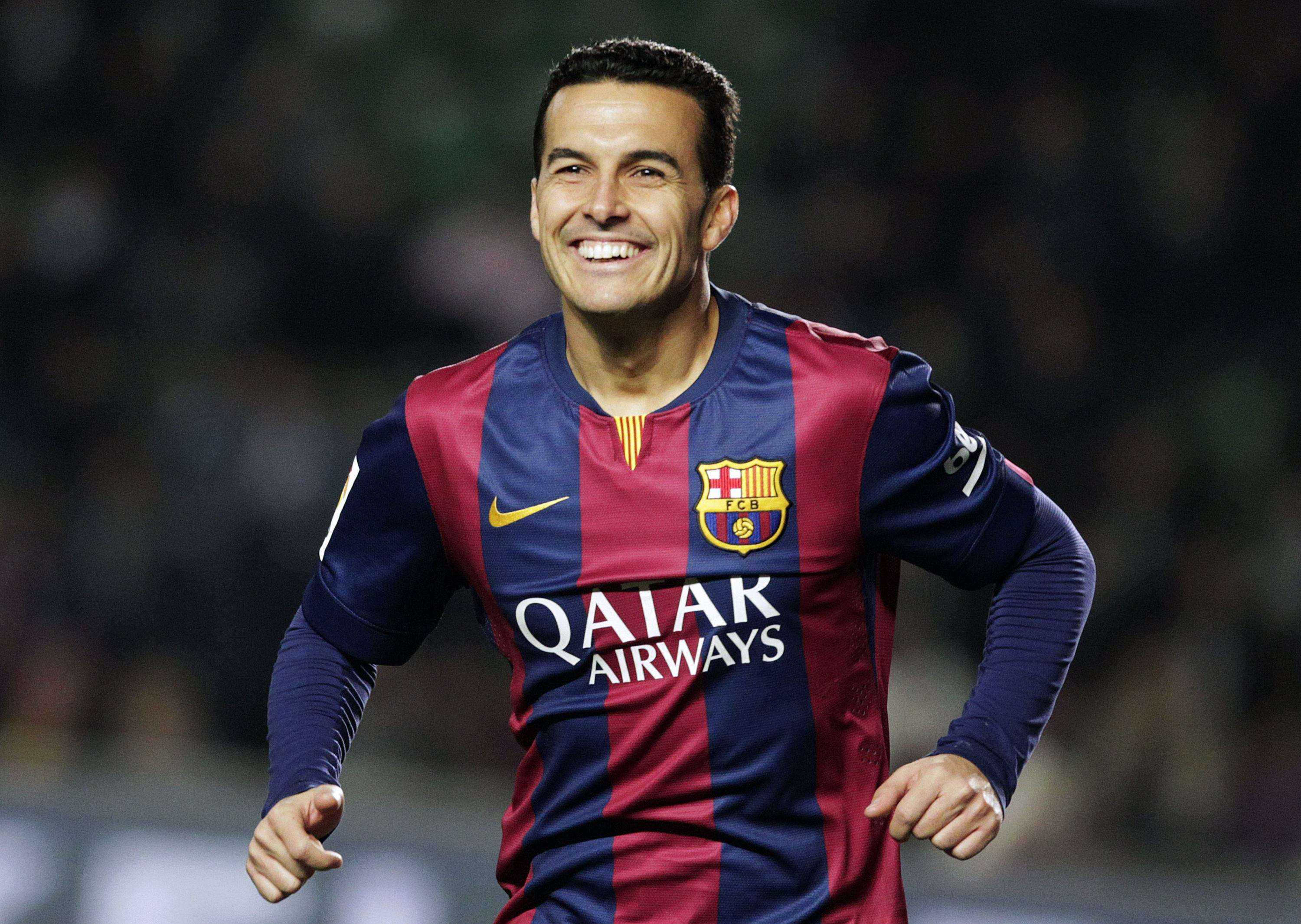 Barcelona's Pedro Rodriguez celebrates after he scored a goal against Elche during their Spanish first division soccer match at Martinez Valero stadium in Elche January 24, 2015. REUTERS/Heino Kalis (SPAIN - Tags: SPORT SOCCER) Foto: HEINO KALIS/REUTERS