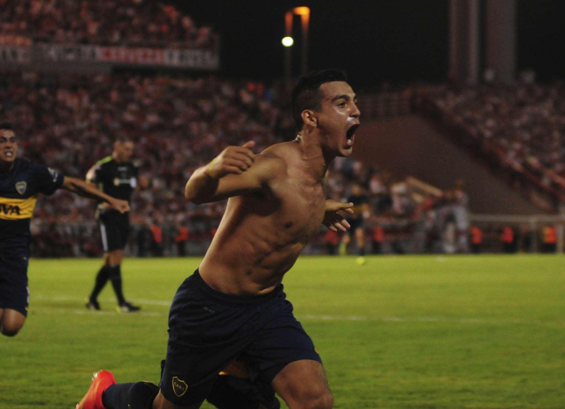 Cristaldo grita con todo el gol de Boca. Foto: Noticias Argentinas