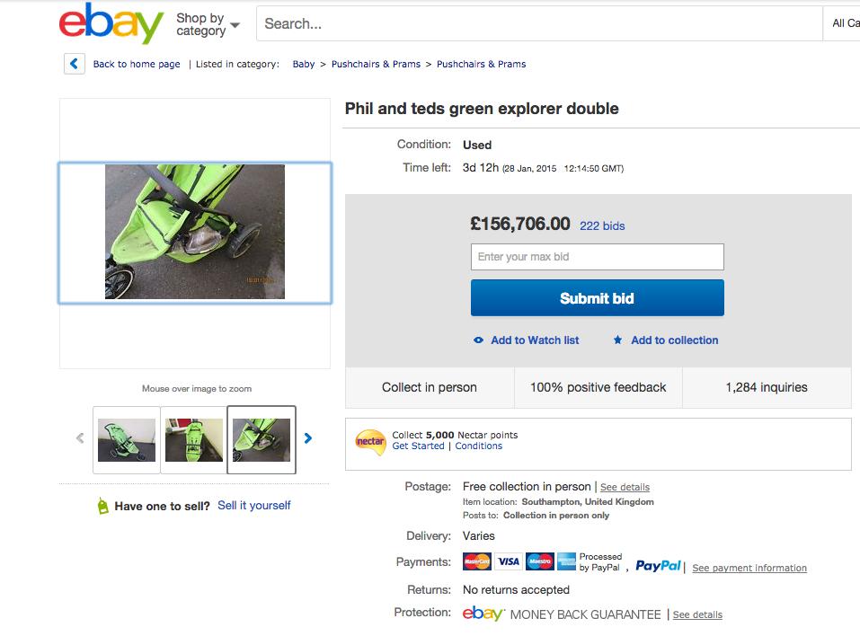 Este es el anuncio que subió Joel Andresier a eBay, el 28 de enero se sabrá el precio final. Foto: eBay