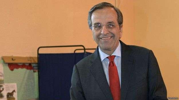 Premiê Samaras votou nesta manhã em Pilos, no sul da Grécia Foto: BBC Mundo