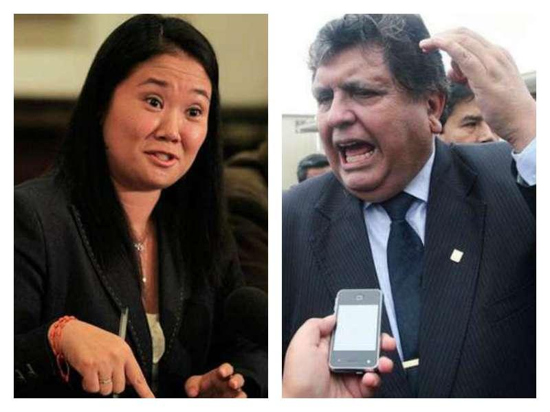 Keiko Fujimori y Alan García son los principales líderes opositores del Gobierno. Foto: Presidencia de la República/AP