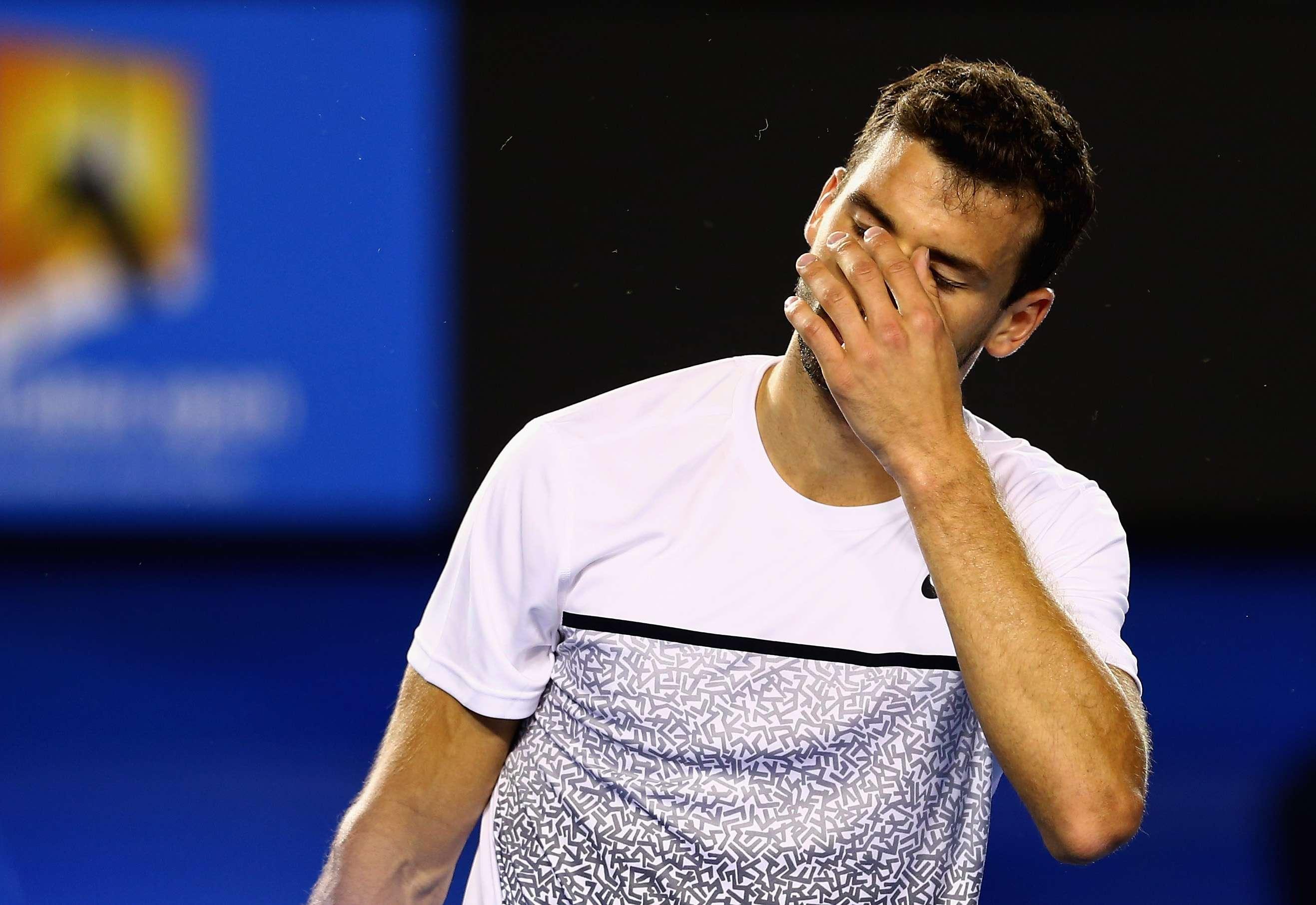 Así quedó la raqueta de Dimitrov. Foto: Getty Images