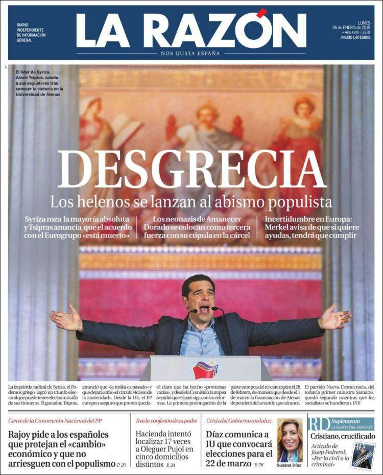 Portada del diario 'La Razón' de este lunes Foto: La Razón
