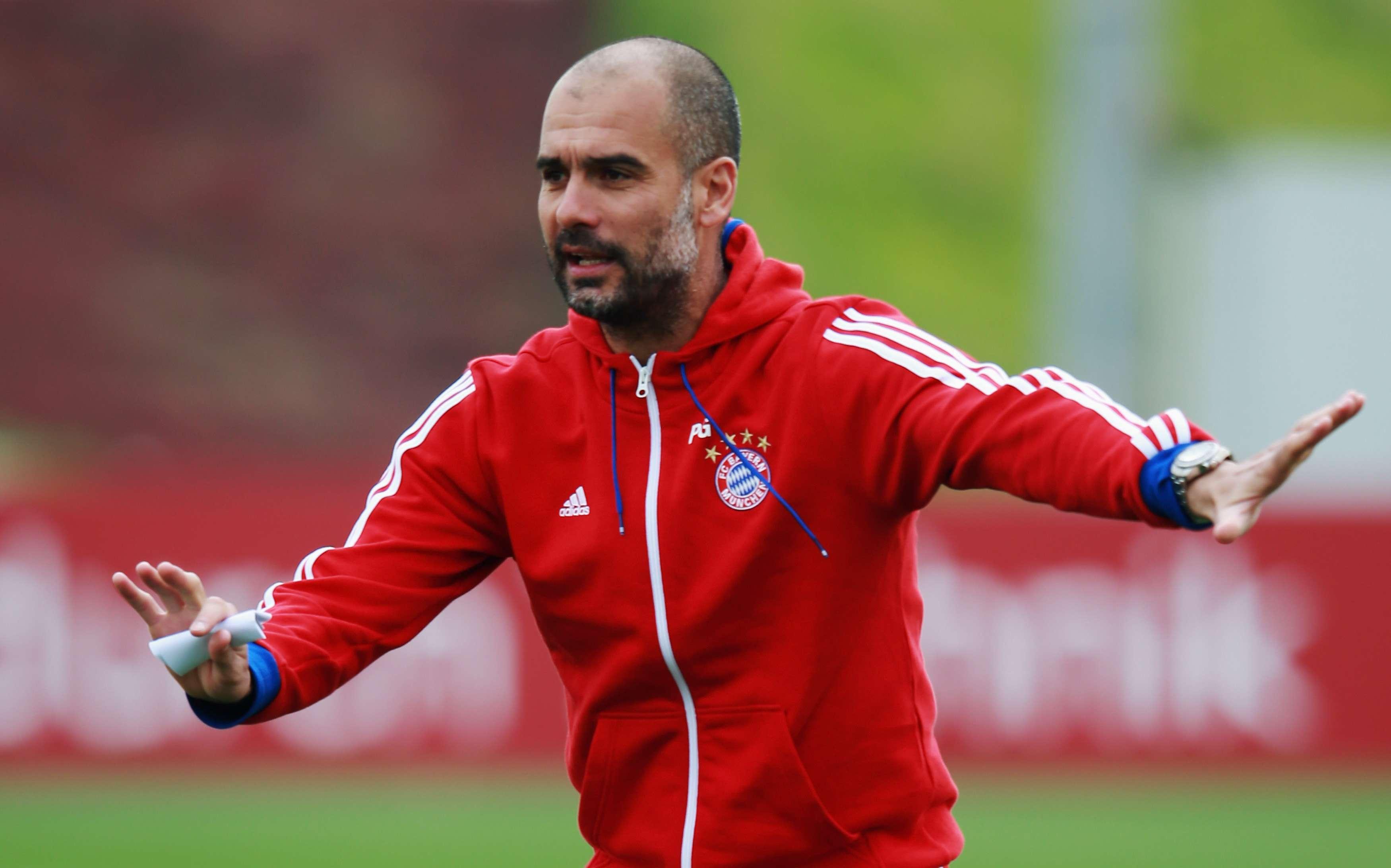 Pep Guardiola en un entrenamiento con el Bayern. Foto: Getty Images