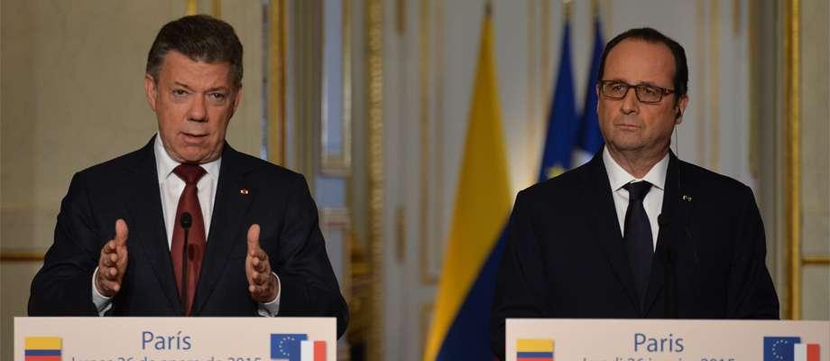 Encuentro de los jefes de estado de Colombia y Francia Foto: Presidencia de la República