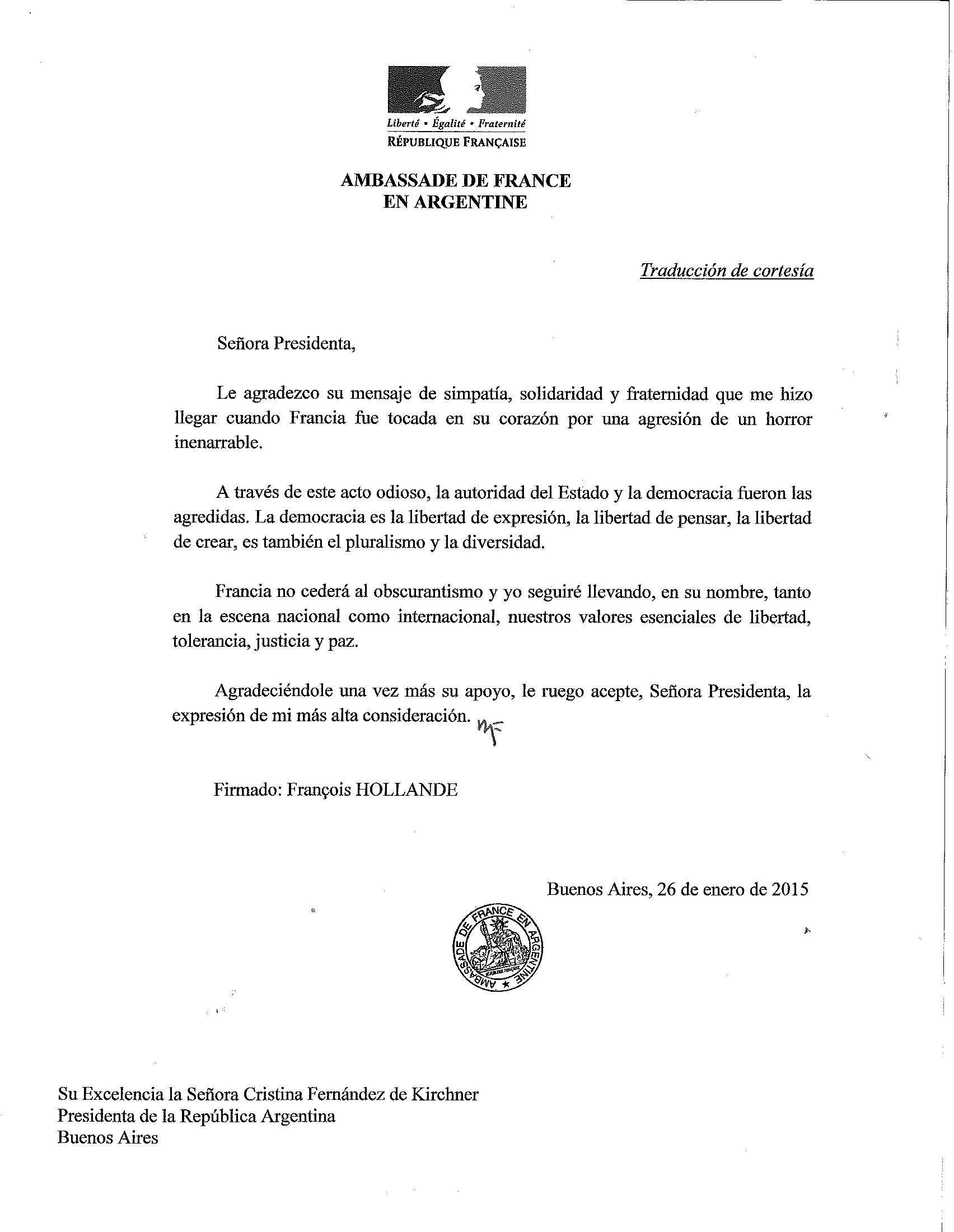 Carta del presidente de Francia, Francoise Hollande a la presidenta Cristina Kirchner. Foto: NA