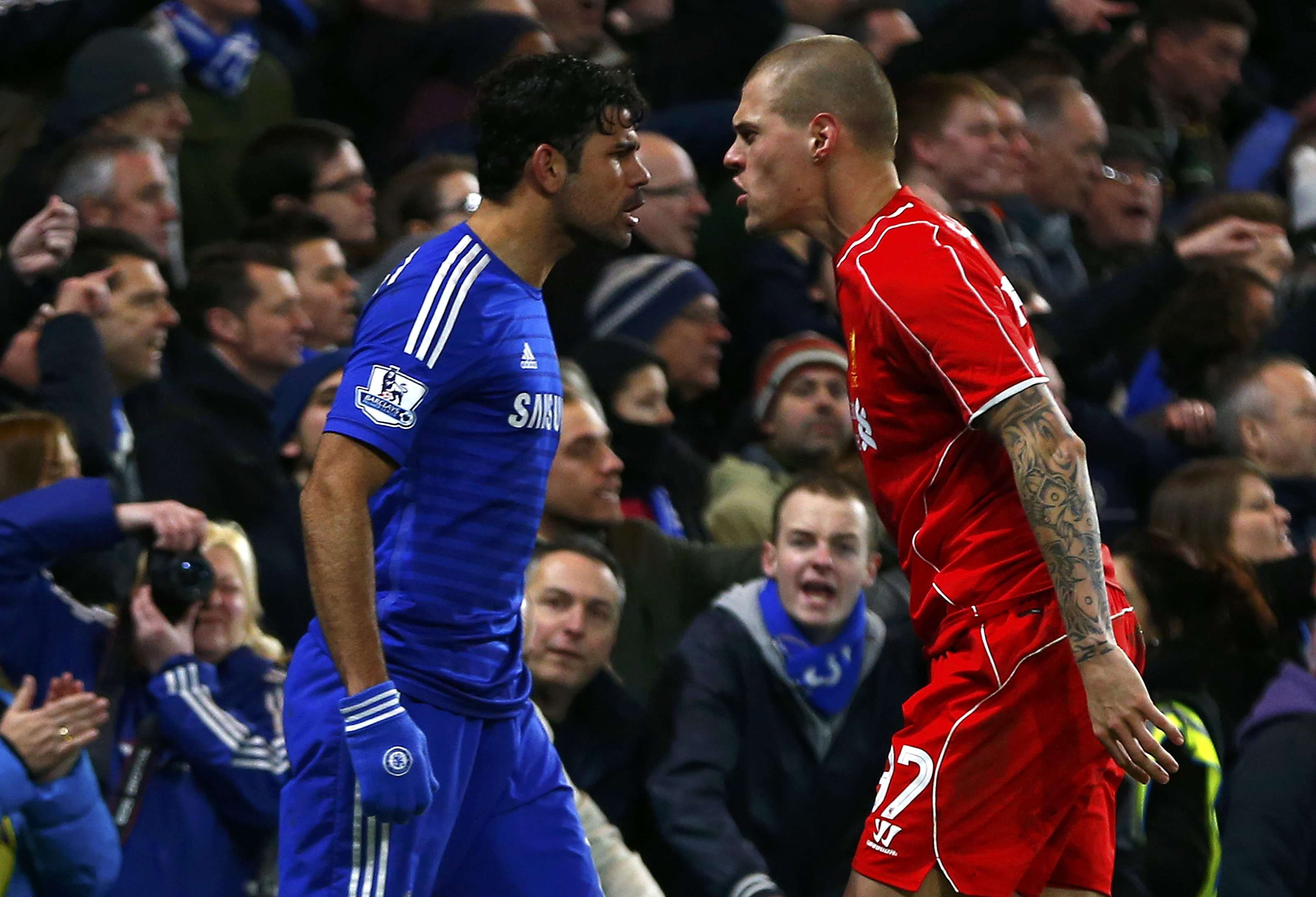 Chelsea's Diego Costa (L) and Liverpool's Martin Skrtel argue during their English League Cup semi-final second leg soccer match at Stamford Bridge in London January 27, 2015. REUTERS/Eddie Keogh (BRITAIN - Tags: SOCCER SPORT) Foto: EDDIE KEOGH/REUTERS