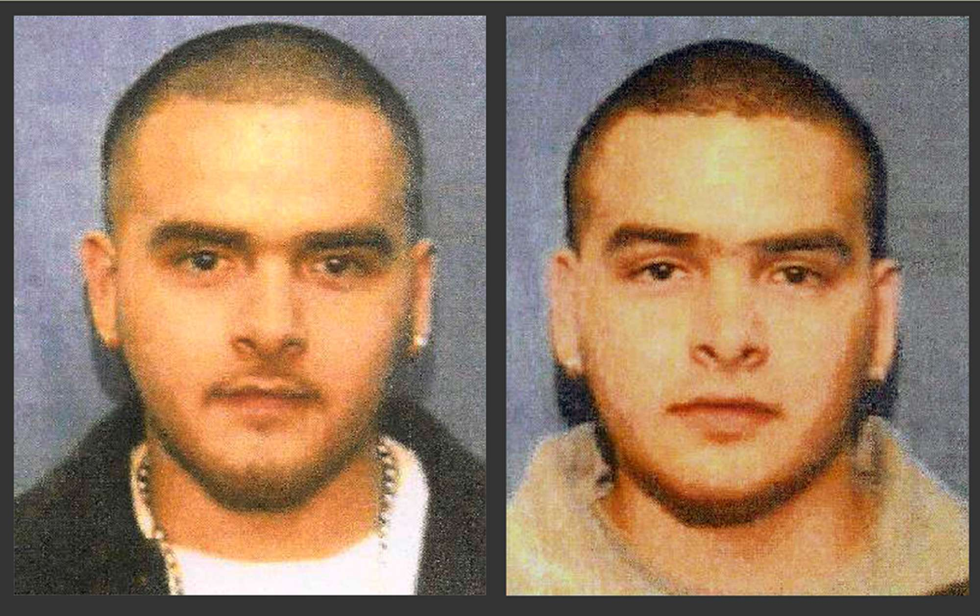 Imagen sin fecha de un cartel de criminales buscados por el Servicio de Alguaciles de Estados Unidos muestra a Pedro Flores, izquierda, y su hermano gemelo Margarito Fl Foto: AP en español