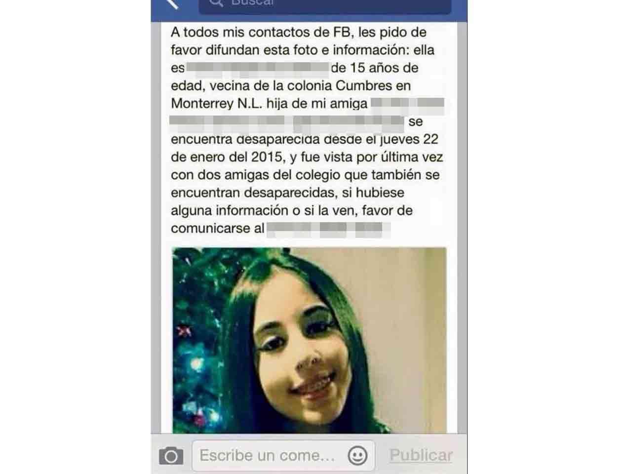En las redes sociales circula una fotografía de una de las menores desaparecidas. Foto: Facebook /Especial