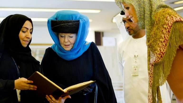 La reina Beatriz y la princesa Máxima de Holanda en los Emiratos Árabes Foto: Getty Images