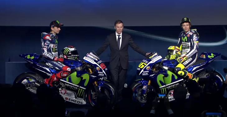 Jorge Lorenzo y Valentino Rossi, en sus respectivas motos. Foto: Yamaha
