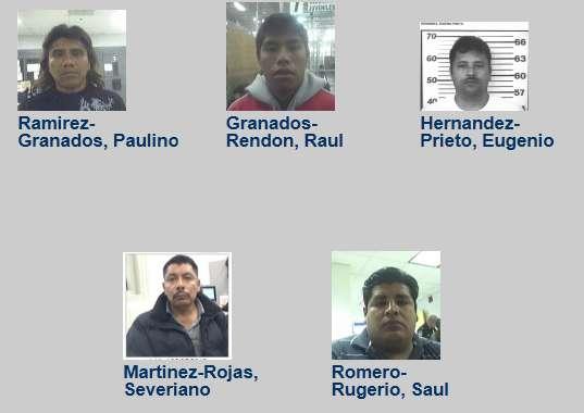 Imagen de los cinco mexicanos que figuran en la lista de los delincuentes más buscados de EU. Foto: ICE