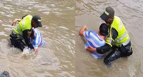 El patrullero salvó la vida del hombre que era arrastrado por la corriente Foto: Policía Nacional