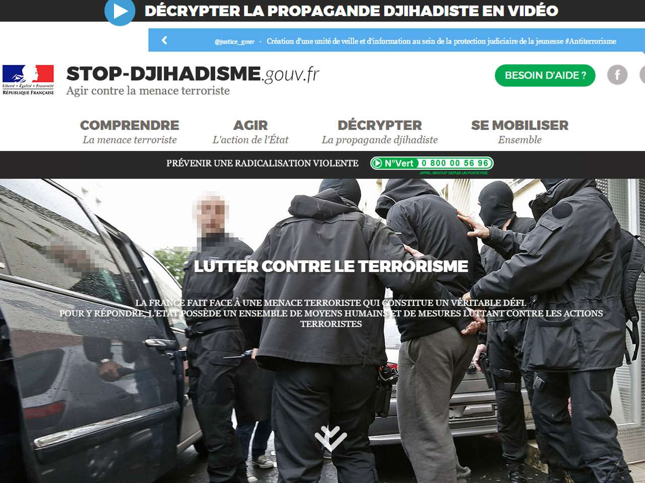 El gobierno francés hace frente a los yihadistas con un video, un sitio web y un hashtag Foto: http://www.stop-djihadisme.gouv.fr/