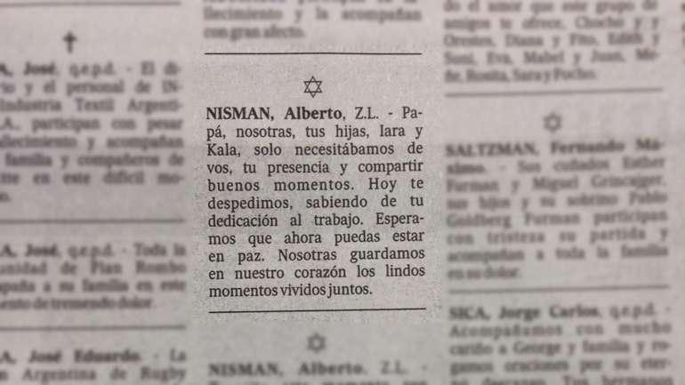 El aviso fúnebre publicado en el diario La Nación por Iara y Kala Nisman para despedirse de su padre. Foto: Reproducción diario La Nación.