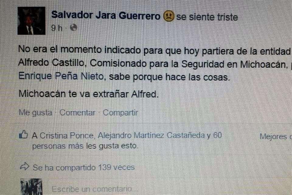 El Gobierno de Michoacán denunció penalmente una cuenta falsa de Facebook en la que se usurpa la identidad del Gobernador Salvador Jara. Foto: Reforma/Especial