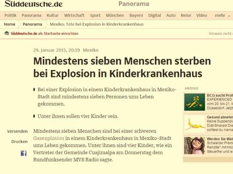 El Süddeutsche Zeitung, de Alemania, se refirió a la tragedia de este jueves en su sitio de internet. Foto: Süddeutsche Zeitung