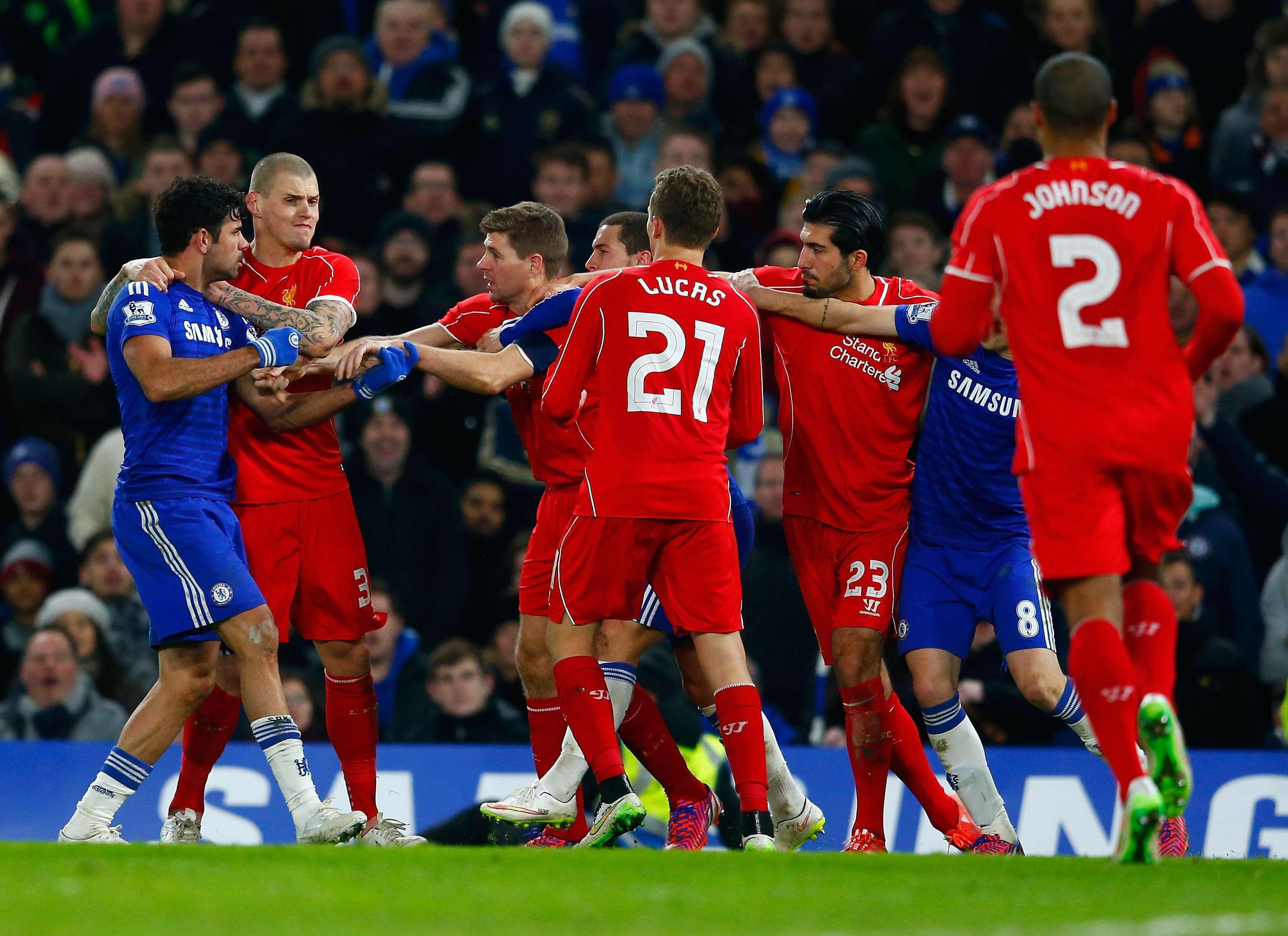 Diego Costa protagonizó una polémica jugada con Emre Can. Foto: Getty Images