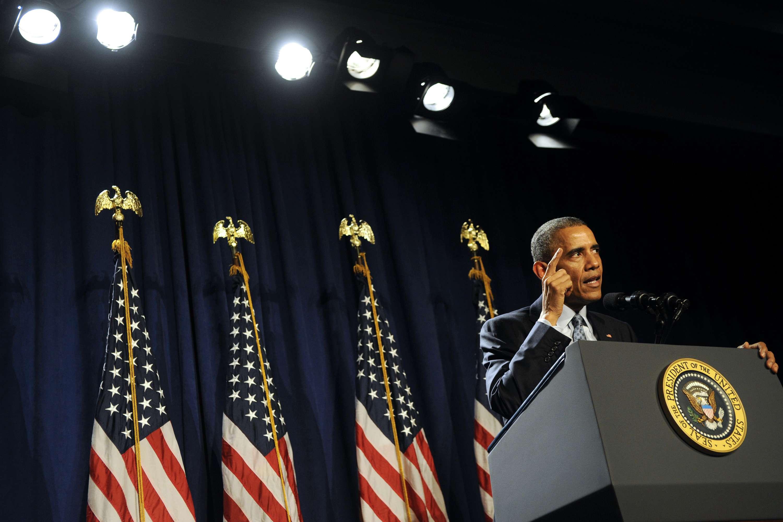 El presidente Barack Obama da un discurso ante legisladores demócratas de la Cámara de Representantes el jueves 29 de enero de 2015, en Filadelfia. Foto: AP en español