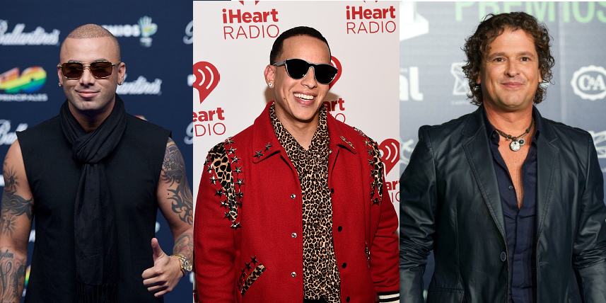 Wisin (izq), Daddy Yankee y Carlos Vives. Foto: Getty Images