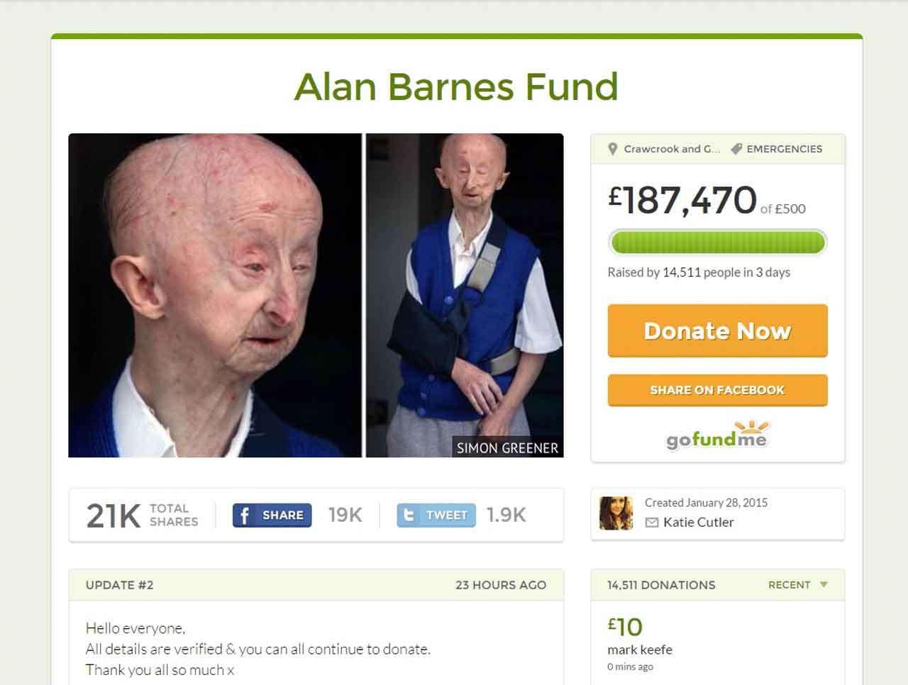 El pensionado inglés Alan Barnes ha recibido más de 270 mil dólares en donaciones después de que se conociera su caso en Inglaterra. Foto: Reproducción