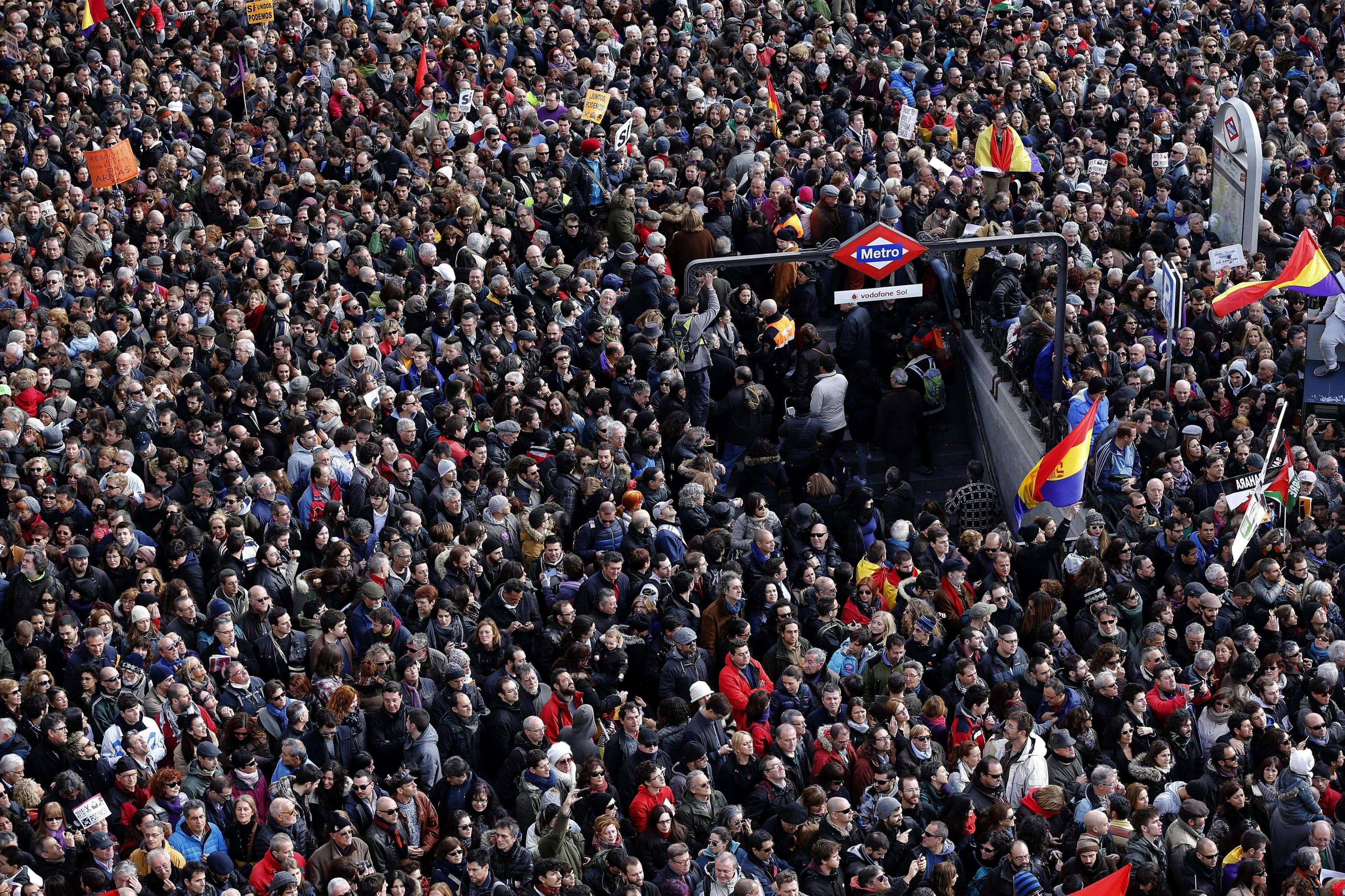 """La """"marcha del cambio"""" convocada por Podemos recorre Madrid. Foto: EFE en español"""