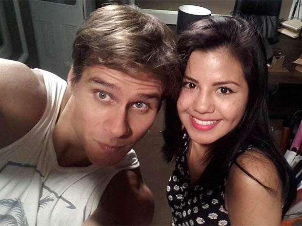 """Miguel Arce y Estrella Torres de Corazón Serrano en las grabaciones de """"De millonario a mendigo"""". Foto: Terra Perú"""