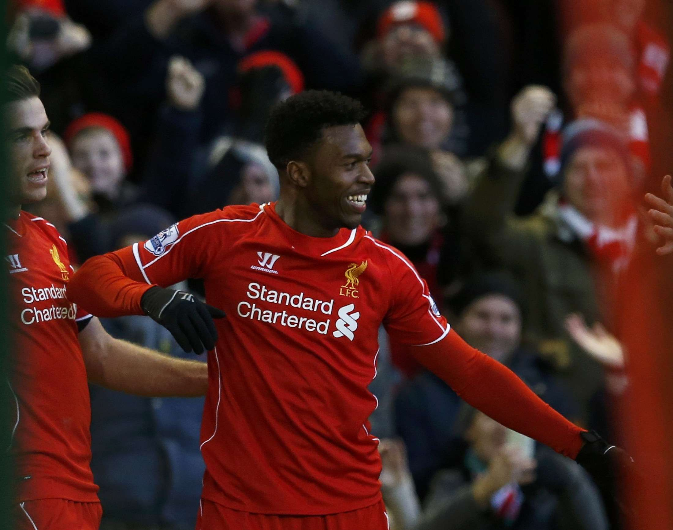 Liverpool's Daniel Sturridge celebrates his goal during their English Premier League soccer match against West Ham United at Anfield in Liverpool, northern England January 31, 2015. REUTERS/Phil Noble (BRITAIN - Tags: SPORT SOCCER) EDITORIAL USE ONLY. NO USE WITH UNAUTHORIZED AUDIO, VIDEO, DATA, FIXTURE LISTS, CLUB/LEAGUE LOGOS OR 'LIVE' SERVICES. ONLINE IN-MATCH USE LIMITED TO 45 IMAGES, NO VIDEO EMULATION. NO USE IN BETTING, GAMES OR SINGLE CLUB/LEAGUE/PLAYER PUBLICATIONS.FOR EDITORIAL USE ONLY. NOT FOR SALE FOR MARKETING OR ADVERTISING CAMPAIGNS. Foto: PHIL NOBLE/REUTERS