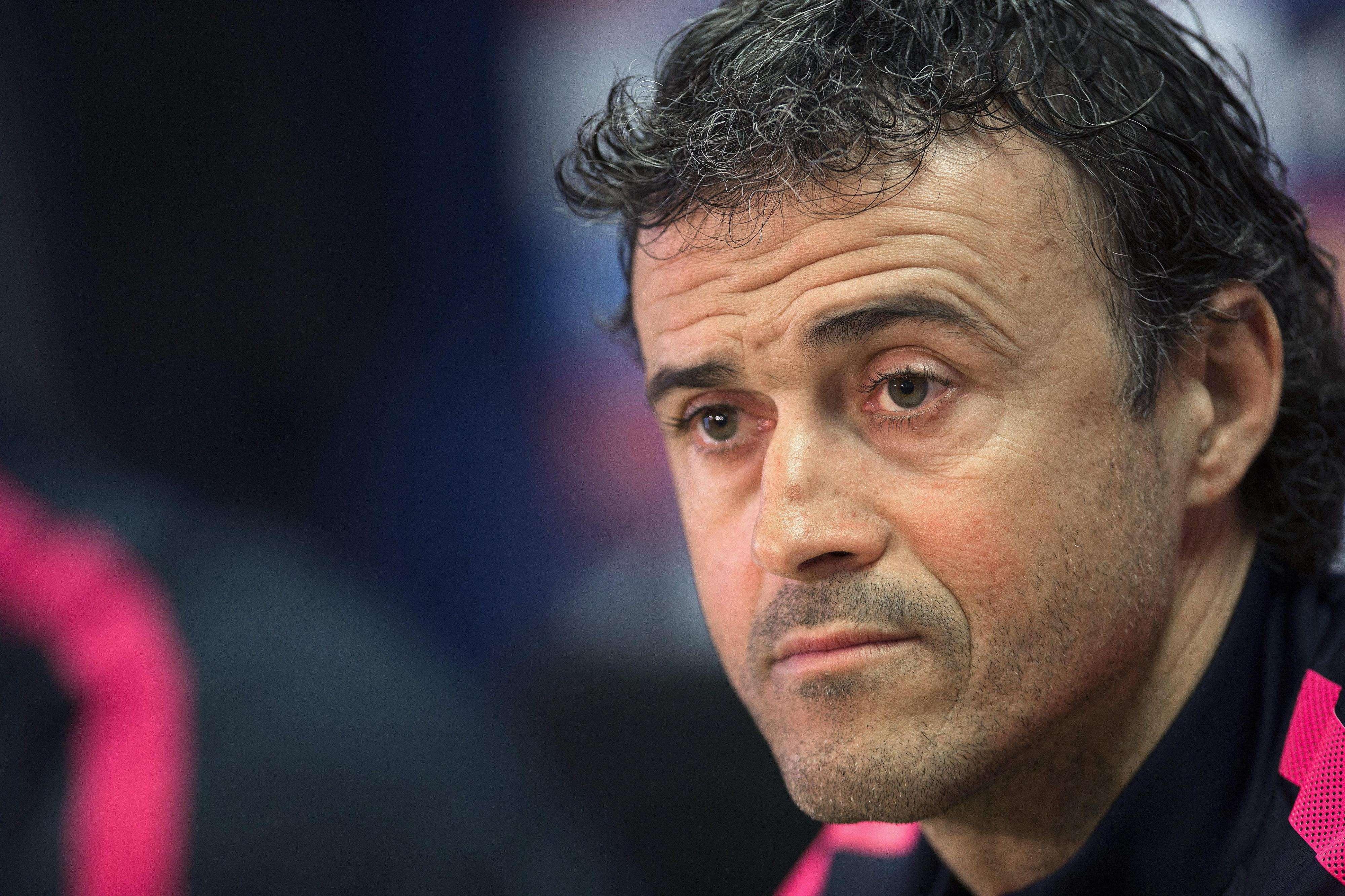 Luis Enrique, entrenador del Barcelona, en rueda de prensa. Foto: EFE en español