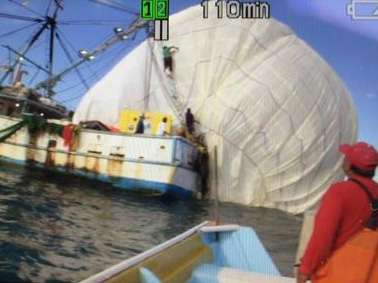Un usuario de Twitter difundió esta imagen sobre la caída del globo al mar de Baja California Sur. Foto: Twitter/@ABaranano
