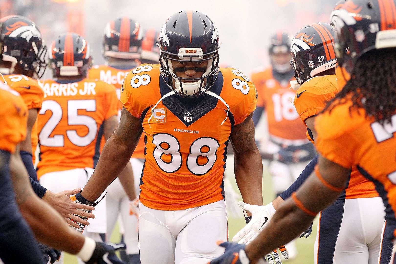 Los 15 mejores jugadores agentes libres en la NFL 2015: Demaryius Thomas, WR, Denver Broncos. Fue el mejor receptor de los Broncos en los últimos años gracias a Peyton Manning. También depende de lo que la franquicia haga para retener a Julius Thomas y si vuelve Manning para el 2015. Es muy probable que se quede en Denver, siempre y cuando hagan espacio para mejorar su contrato sin tocar el tope salarial. Foto: Getty Images