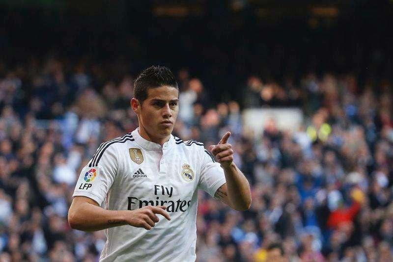 James Rodriguez, do Real Madrid, comemora gol contra Espanyol, em Madri, em janeiro. 10/01/2015 Foto: Juan Medina/Reuters
