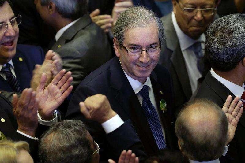 Presidente da Câmara dos Deputados, Eduardo Cunha (PMDB-RJ), durante eleição na Casa. 1/2/2015 Foto: Ueslei Marcelino/Reuters