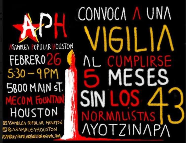 El grupo denominado Asamblea Popular Houston convocó a una 'vigilia' por los estudiantes desaparecidos. Foto: Facebook/Desinformémonos