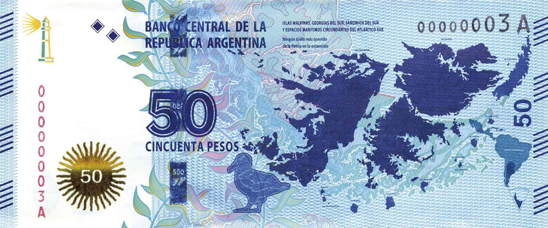 Anverso del nuevo billete de 50 pesos. Foto: Noticias Argentinas