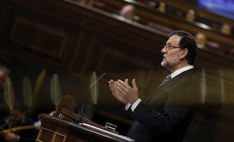 El presidente del Gobierno, Mariano Rajoy, durante su intervención en el vigésimo quinto debate del estado de la nación Foto: EFE