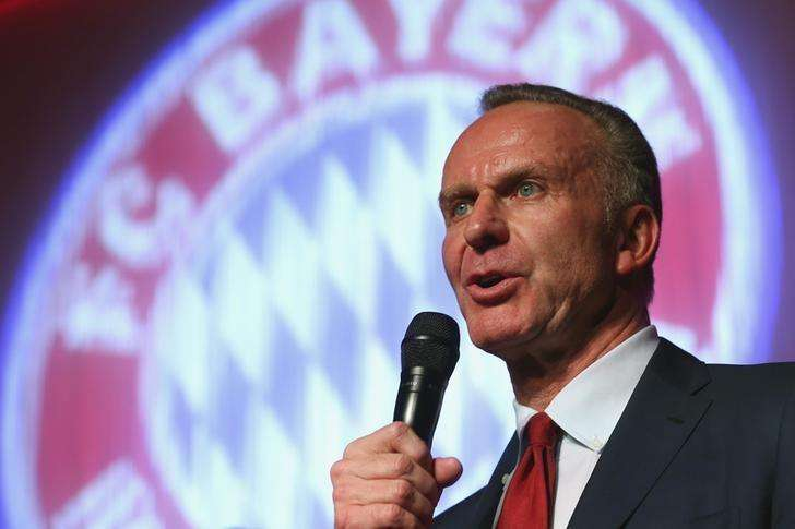 Bayern Munich CEO Karl-Heinz Rummenigge speaks at the team's after-match party in Berlin May 18, 2014. Foto: Alexander Hassenstein/Reuters