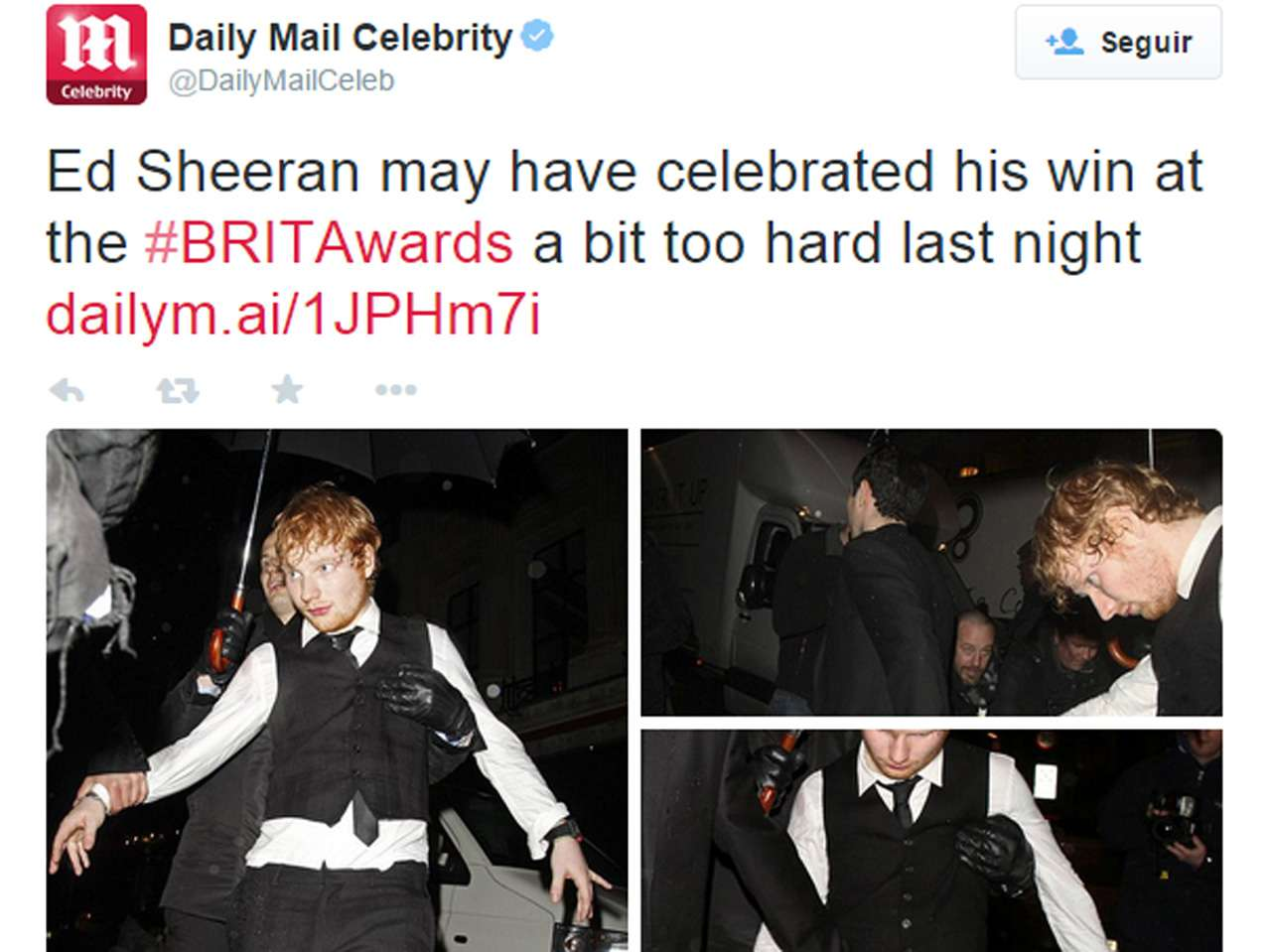 Ed Sheeran Foto: Twitter / Daily Mail Celebrity