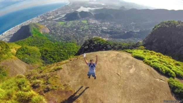 Pedra Bonita, en Brasil, ofrece una vista asombrosa de Rio de Janeiro Foto: Dronestagram