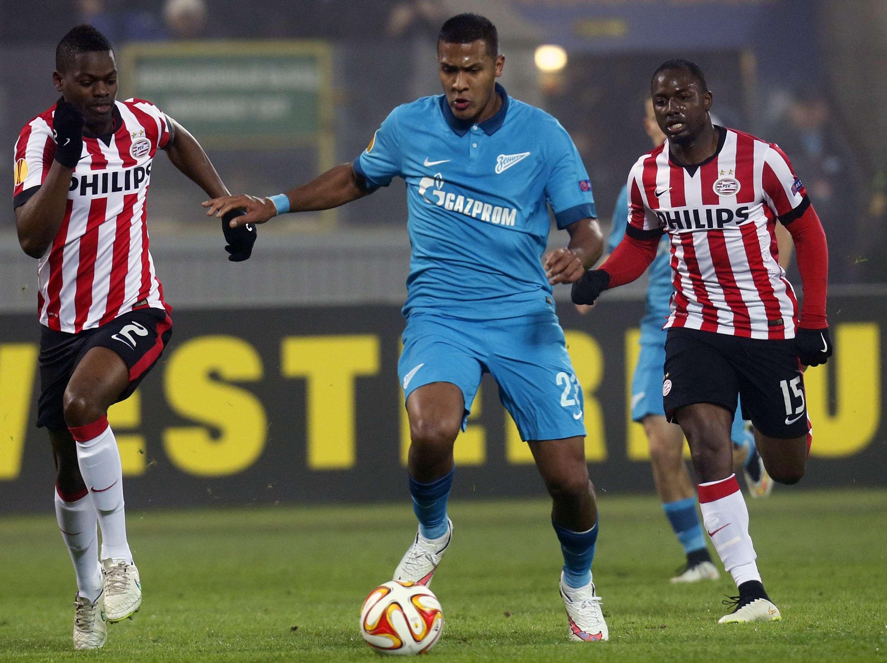 José Salomón Rondón marcó un doblete en la goleada de Zenit 3-0 sobre PSV Eindhoven. Foto: AP