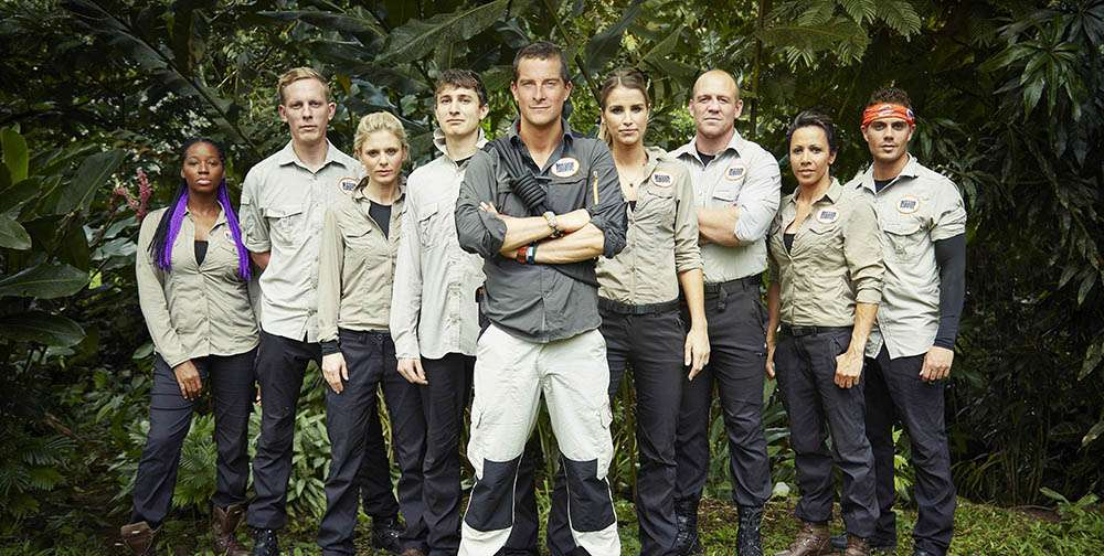 Jamelia, Laurence Fox, Emilia Fox, Tom Rosenthal, Bear Grylls, Vogue Willians, Mike Tindall, Max George e Kelly Holmes no programa 'Mission Survive' Foto: ITV/Divulgação