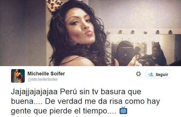 "Michelle Soifer de ""Combate"" critico a quienes marchen en contra de la TV basura. Foto: Twitter"