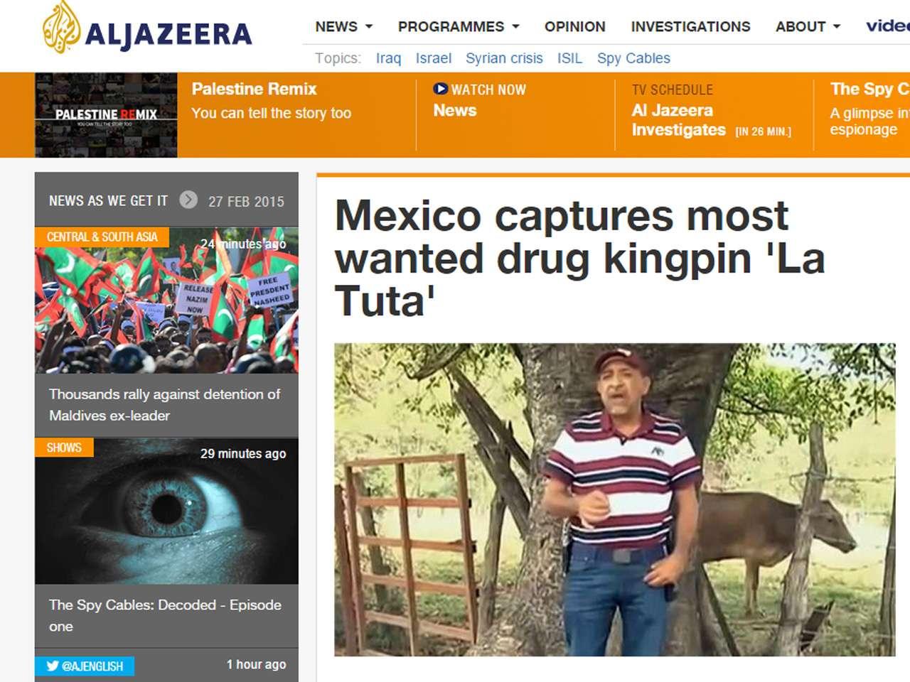 La versión en inglés del sitio de Al Jazeera así destacó la noticia Foto: Al Jazeera