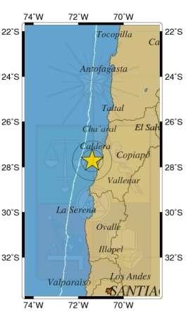 El epicentro tuvo sólo 1 kilómetro de profundidad. Foto: Sismología de Chile