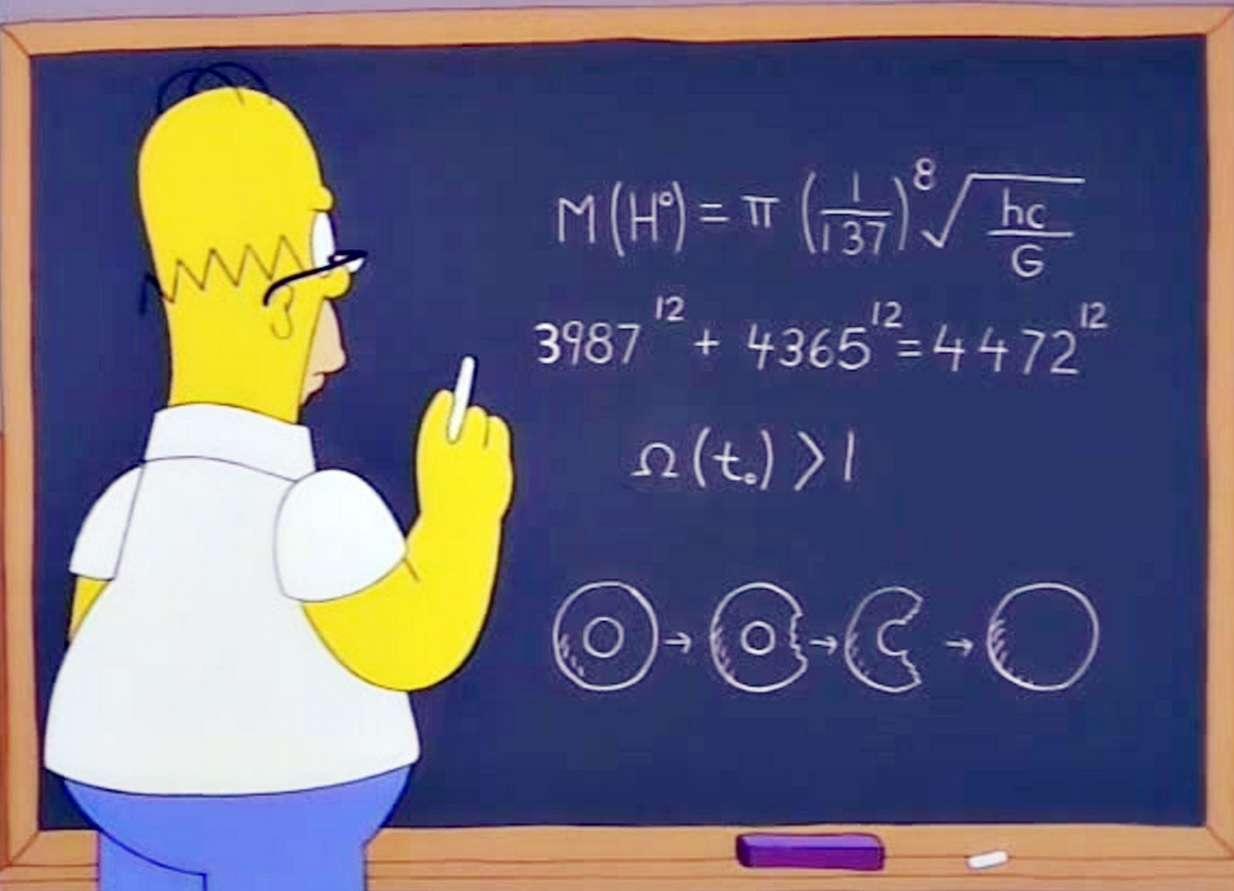 Homer torna-se um inventor e aparece resolvendo equações complicadas em um quadro-negro em episódio Foto: The Independent/Reprodução