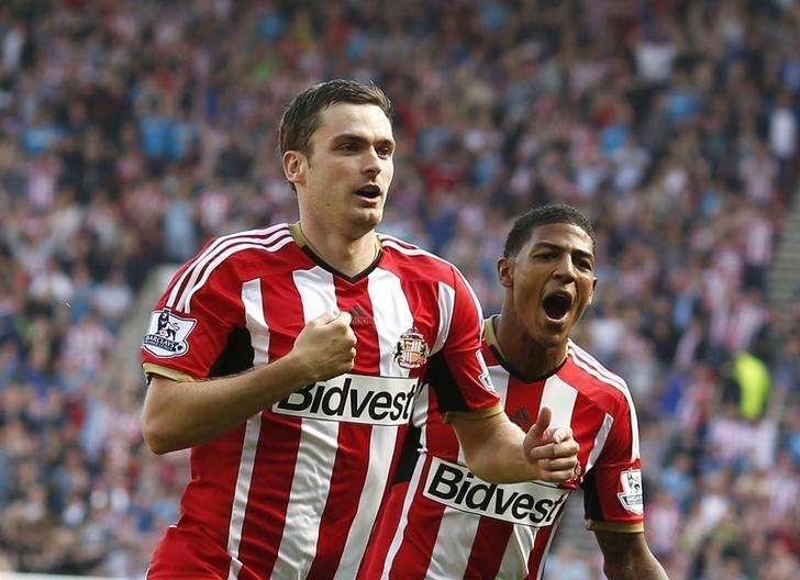 Adam Johnson comemora gol do Sunderland contra o Tottenham Hotspur. 13/09/2014. Foto: Andrew Yates/Reuters