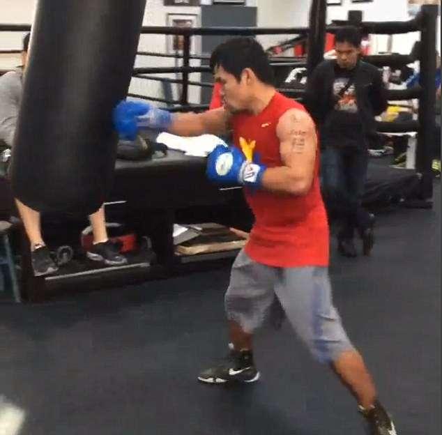 Manny Pacquiao durante su entrenamiento en Los Ángeles. Foto: emmanuelpacquiao/Instagram