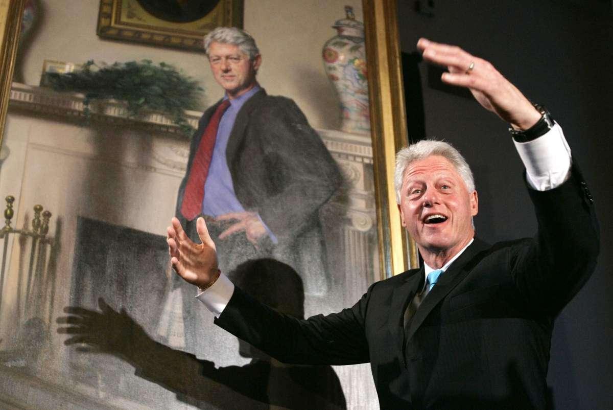 Sombra de vestido no retrato faz referência ao caso de Clinton Foto: Time/Reprodução