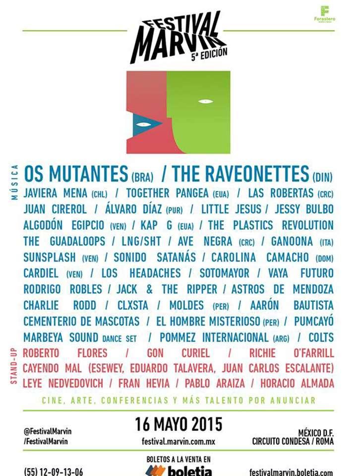 El Festival Marvin se realizará el 16 de mayo de 2015 en distintas sedes ubicadas en el corredor Roma-Condesa, en el Distrito Federal (México). Foto: Festival Marvin